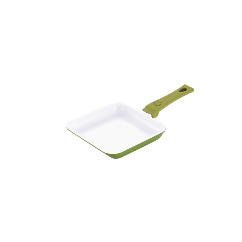 Pann Minichef 14x14cm valualumiiniumist keraamilise kattega, oliiviroheline