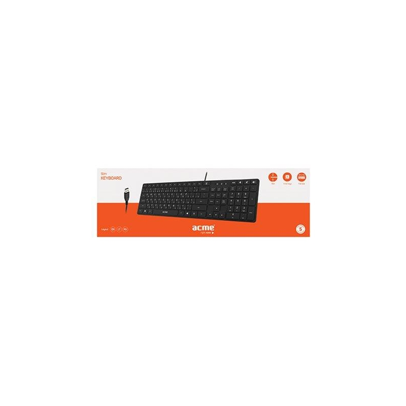 ACME klaviatuur slim USB, ENG/RUS