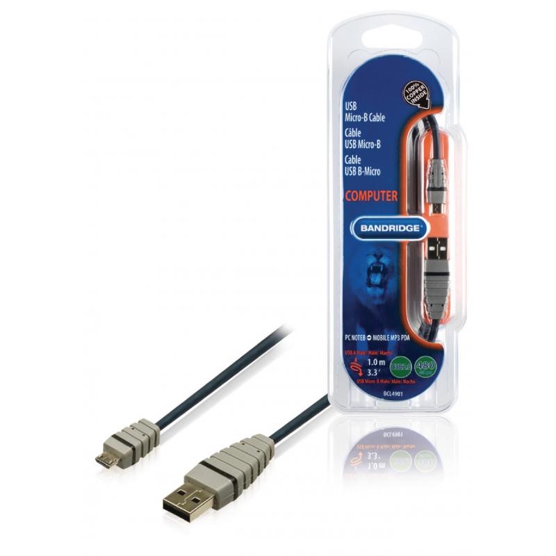 Bandridge BCL4901 USB 2.0 A otsik - USB Micro B otsik 1.0m