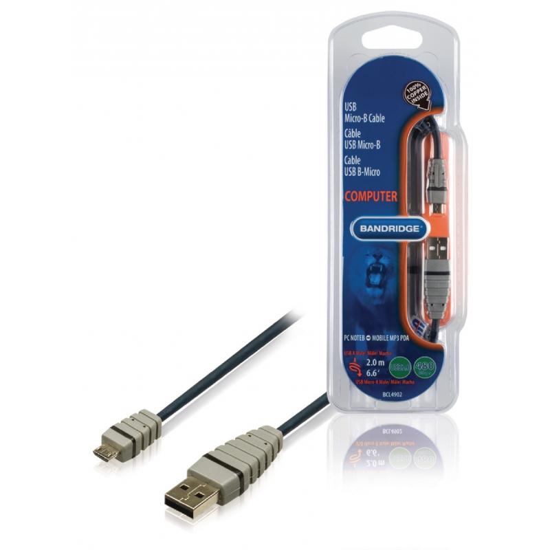 Bandridge BCL4902 USB 2.0 A otsik - USB Micro B otsik 2.0m