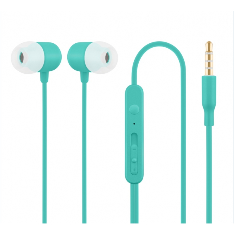 Nööpkõrvaklapid mikrofoniga HE21, sinine