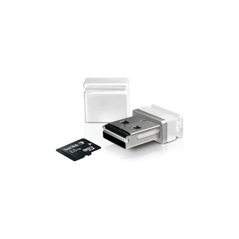 Sweex microSD nano kaardilugeja USB, valge EOL