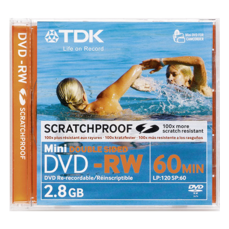 TDK DVD-RW 2,8GB MINI, Double Sided,Scratchproof EOL