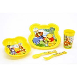 sööginõude kompl. 5-osal. (taldrik, kauss, tops, lusikas, kahvel), plastik, Disney WinniePooh