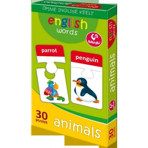 Piltpuzzle 30 inglise sõna-loomad