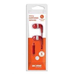 ACME HE15 nööpkõrvaklapid mikrofoniga, punased