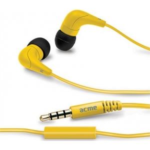 ACME HE15 nööpkõrvaklapid mikrofoniga, kollased