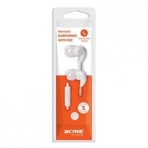 ACME HE16 nööpkõrvaklapid mikrofoniga, valged