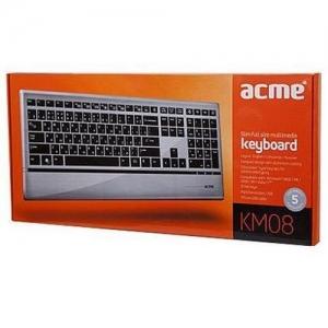 ACME klaviatuur KM-08 multimeedia hõbe,USB,EN/LT/RU EOL