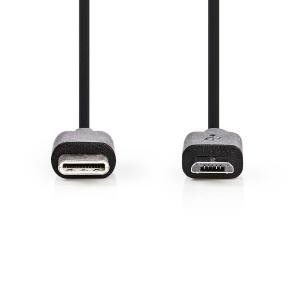 Kaabel USB-C M - micro USB M, 1m, kiles, must