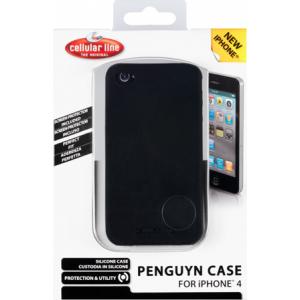 Cellular iPhone 4/4S silikoonist ümbris, must+ekraanik. EOL