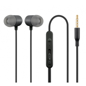 Nööpkõrvaklapid mikrofoniga HE21, must