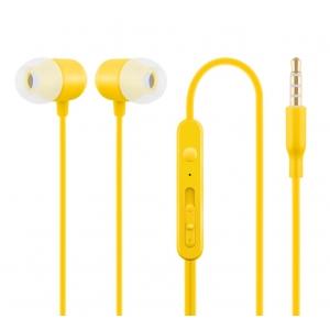 Nööpkõrvaklapid mikrofoniga HE21, kollane