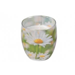 Lõhnasteariinküünal dekoreeritud klaasis, Daisy Meadow