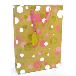 L kinkekott Kraft Pink/Gold Spot