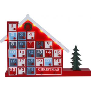 Adv.kalendriga maja, 44x32cm, 8 Led tuld, taimer (6+18h tsükkel), patareitoide (3xAA, mitte kaasas), IP20