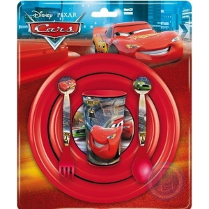 Sööginõude kompl. 5-osal. (taldrik, kauss, tops, lusikas, kahvel), plastik, Disney Autod