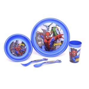 sööginõude kompl. 5-osal. (taldrik, kauss, tops, lusikas, kahvel), plastik, Disney Spiderman