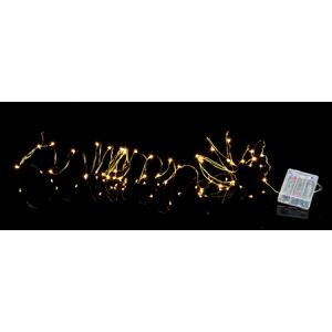 Valguskett String 40 LED, vaskne, 3,9m, tulede vahe 10cm, taimer (6+18h tsükkel), patareitoide (3xAA, mitte kaasas), IP20 12/96