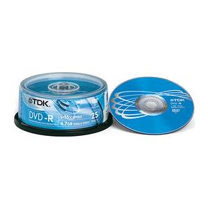 TDK DVD-R 4,7BG/16X 25-torn EOL