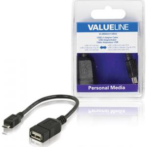 Valueline VLMB60515B02 USB Micro B otsik - USB A pesa adapter, OTG, 0,2m