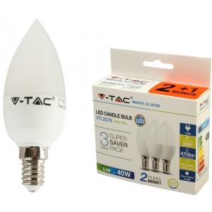 LED lamp 3-pakk, E14 Candle/5,5W/470lm
