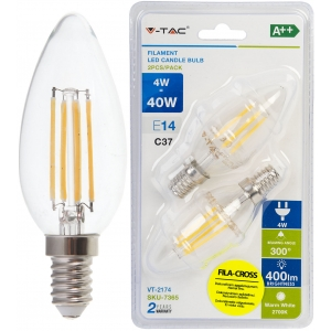 LED lamp 2-pakk E14/4W/400lm/4W/Filament Candle