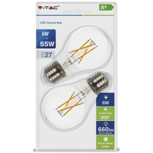 LED lamp 2-pakk E27/6W/600lm/Filament A60