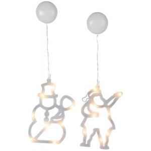 Siluetid 16 LED Jõuluvana ja Lumememm, 12,5x20cm, 2tk, patareitode (6xAAA, mitte kaasas), IP20
