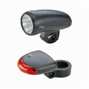 Tulede komplekt patarei toitega. Valge esituli (10LUX) ja LED-tagatuli.  Esitulele: 5 x AA patarei Tagatulele: 2 x AA patarei