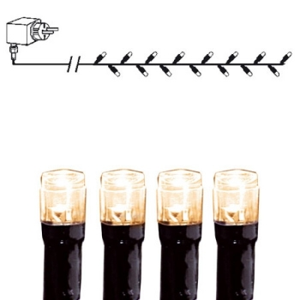 Valguskett 40 soe-valge LED tulega, 3,9m ja 10m kaabel, tulede vahe 10cm, 230V-24V DC, IP44