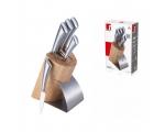 6- osaline nugade komplekt puidust alusel (5 nuga + puitalus)