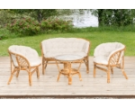 Furniture set Bahamas, sofa, 2 armchairs, coffee table with tempered glass