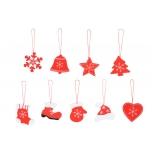 Christmas tree jewelry selection Red 9 different shapes 20x19,8x1,6cm 12/48
