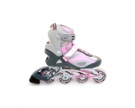 Roller skates no. 41 pink / gray, soft boots, alu undercarriage, 82A wheels 78x24mm, Abec-7 chrome. ball bearings / 4
