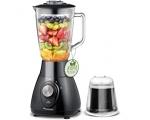 Blender with glass jug 1L, black / metallic red 350W