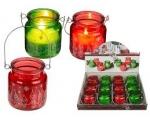 Jõuluküünal klaas, hõbedane kaunistus, riputatav