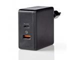 Toalaadija Nedis USB-C + USB-A, 2x 3A