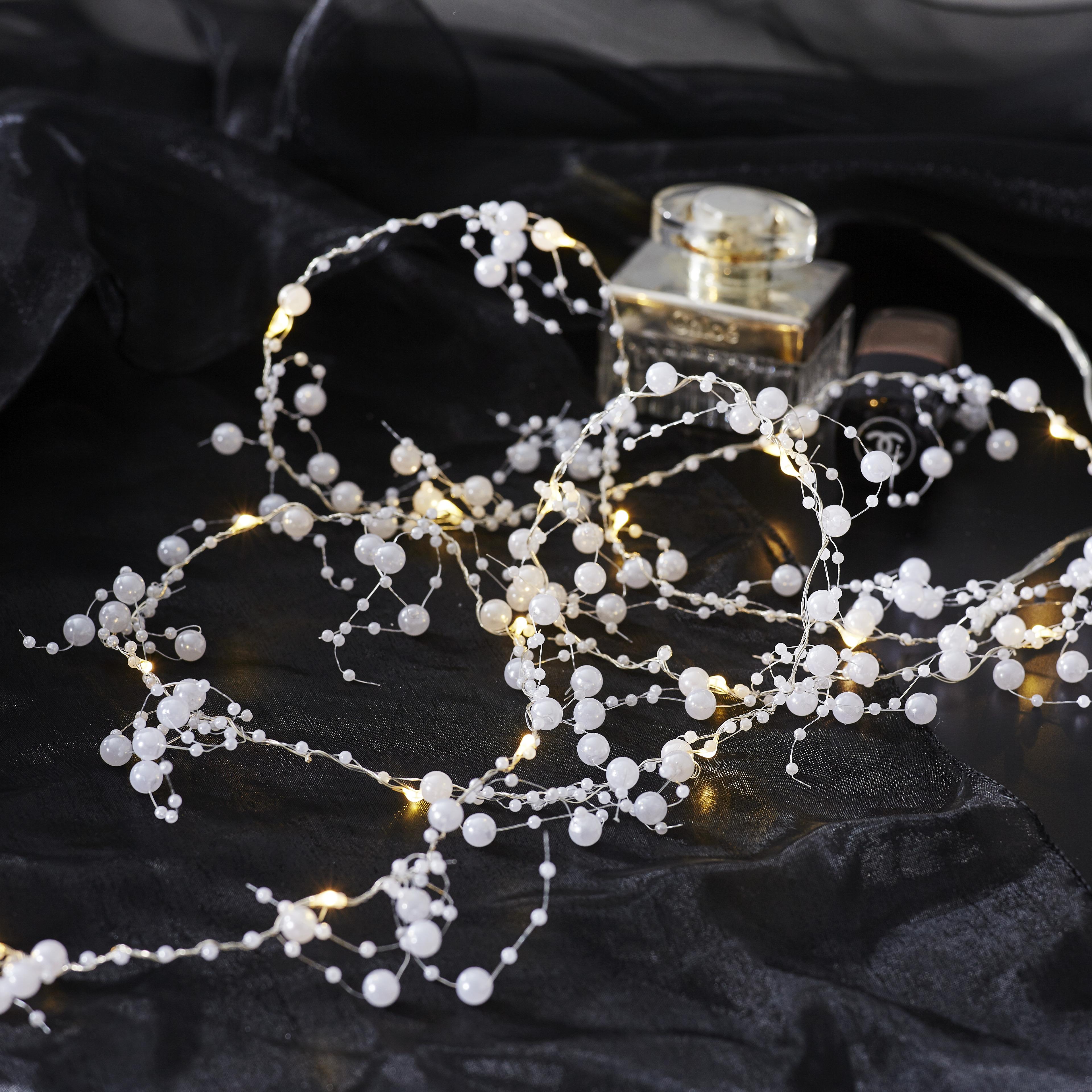 Valguskett Kastepisara Pärlid 1,9m, 20LED valge, patareitoide, IP20
