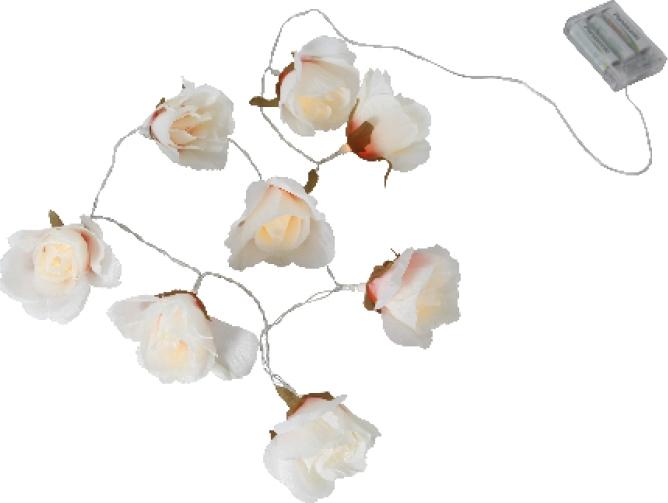 Valguskett suurte roosidega 8 LED, 1,75m, tulede vahe 25cm, taimer (6+18h tsükkel), patareitoide (3xAA, mitte kaasas), IP20
